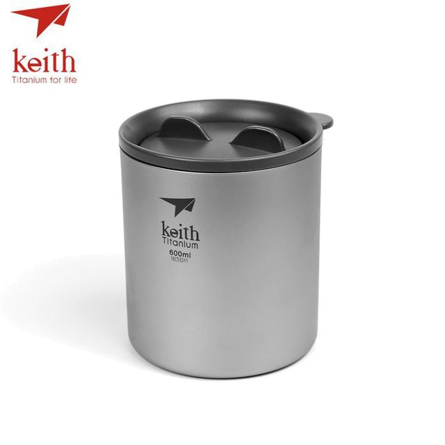 Keith Pure Titanium Double Wall Water Coffee Mugs Drinkware Outdoor Camping Beer Cups Ultralight Travel Mug 450ml 600ml