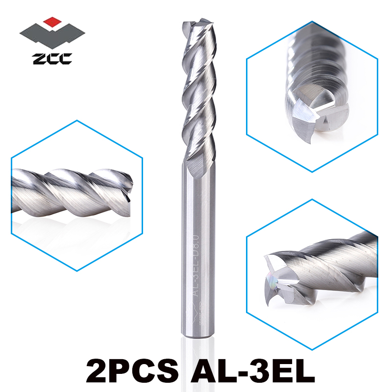 2 pcs/lot ZCCCT AL-3EL D3.0-D8.0 solide carbure 3 4 5 6 8mm allongement end mill longue flûte extension de coupe bord cnc outils