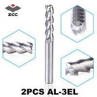 2 unids/lote ZCCCT AL-3EL D3.0-D8.0 de carburo sólido 3 4 5 6 8mm alargamiento Molino de extremo largo flauta de extensión de corte borde Herramientas cnc