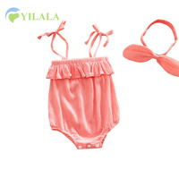 2PCS Baby Girls Bodysuits Turban Knot Set Girls Summer Jumpsuits Cotton Solid Baby Summer Clothes Baby