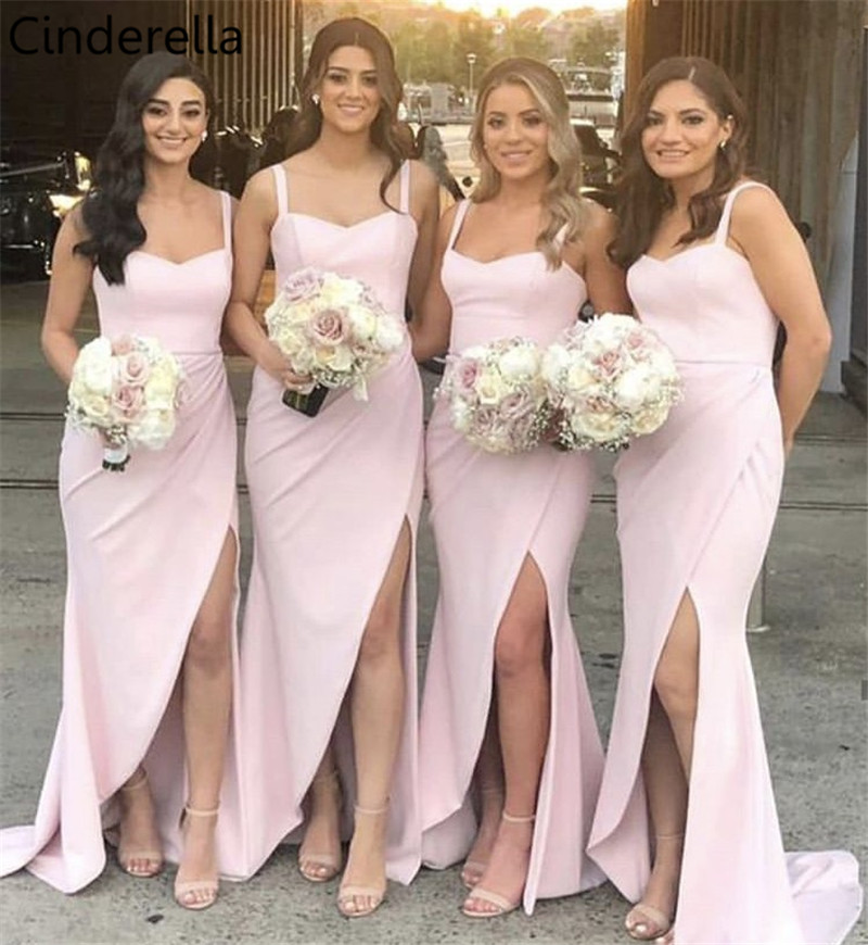 Cinderella Sweetheart Straps Floor Length Sweep Train Side Slit Elastic Satin Mermaid   Bridesmaid     Dresses   Wedding Party   Dresses