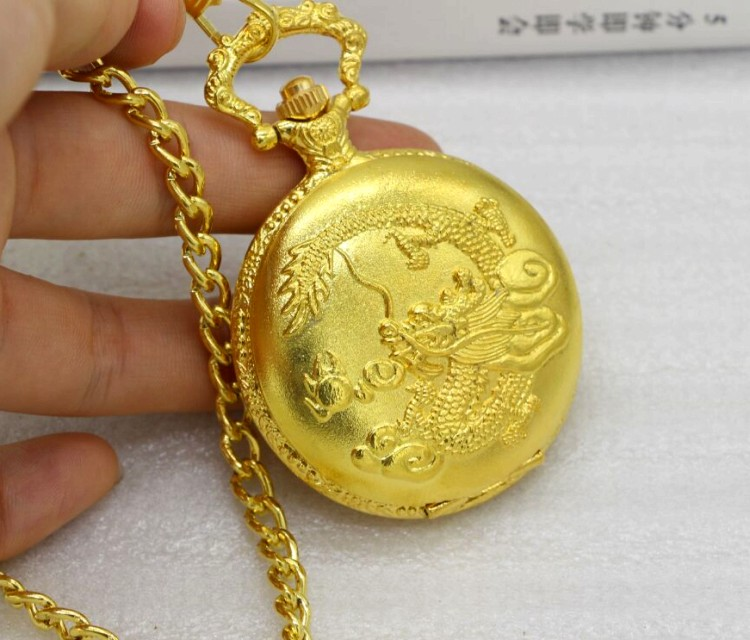 Retro Chinese Style Dragon Phenix Pocket Watch With Necklace Chain gold Fob Watch Men Clock Women Necklace Chain Gift unique big crystal red garnet inset pendant clock man charming evil dragon new gold tone case quartz pocket watch necklace chain