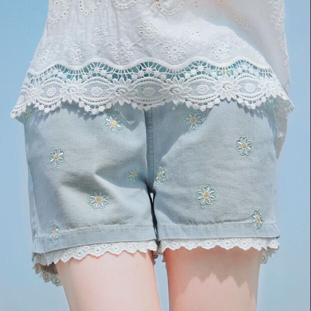 Harajuku Style Mori Daisy Floral Embroidery Short Jeans For Teens Girls Lace Edge Soft Thin Thigh Jean Women Summer Denim Shorts