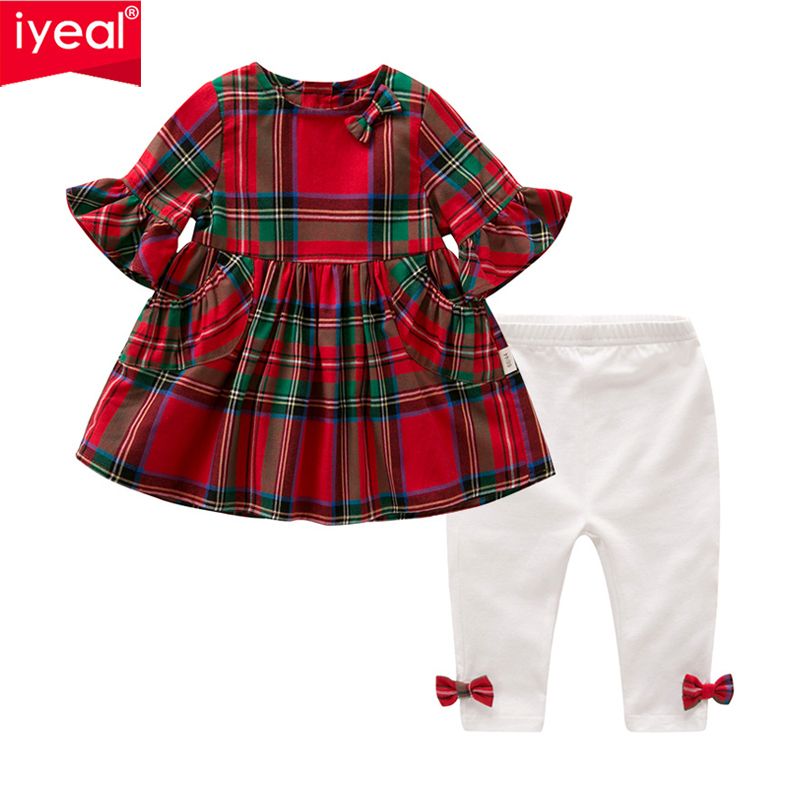 IYEAL Newest 2018 Baby Girl Clothes Set Plaid Dresses + Legging Pants Cotton Newborn Infant Clothing Kids Toddler Baby Outfit 3pcs newborn infant kids baby boy girl clothes set cotton striped hoodies t shirt top short pants outfit set children clothing