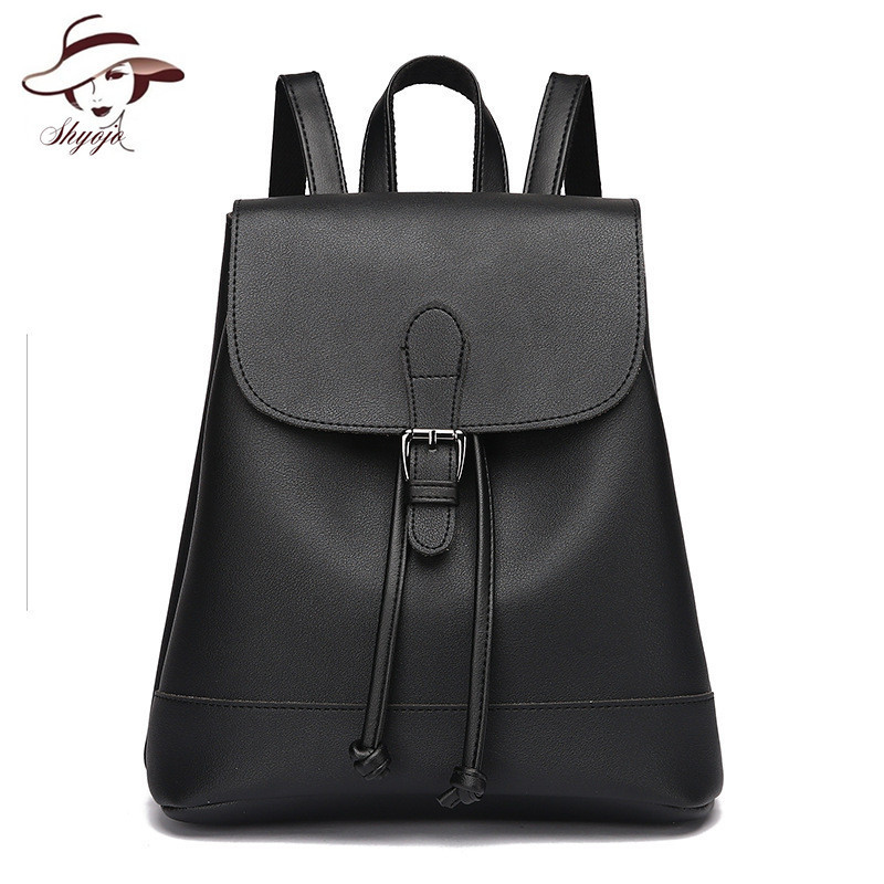 New Candy Color Backpack Women Backpacks Leather School Bag Female Casual PU Leather Satchel Rucksack Bag