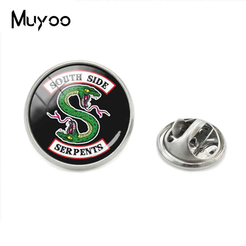 2018 New Riverdale Lapel Pins Personalized Photo Glass Cabochon Collar Pins Handmade Silver Brooches Jewelry Gift For Men
