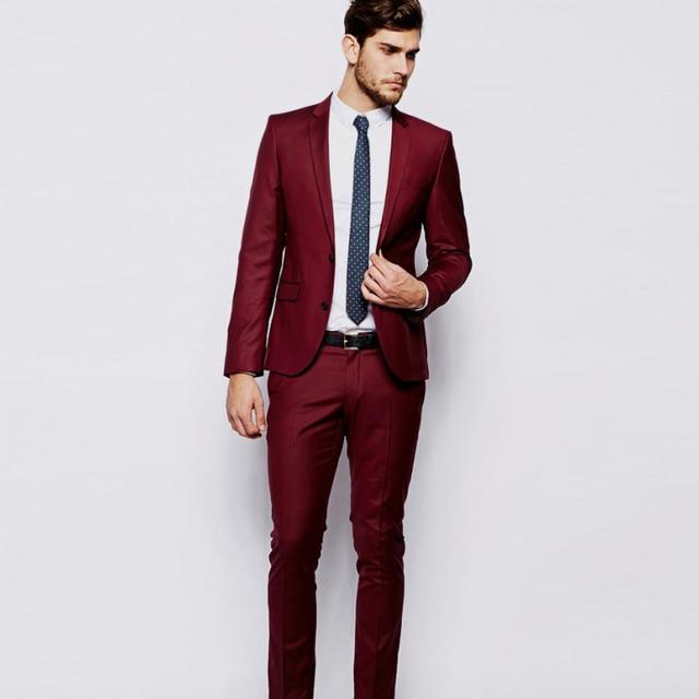 2018 Burgundy Wine Red Men Suits Elegant Smart Casual Blazer For