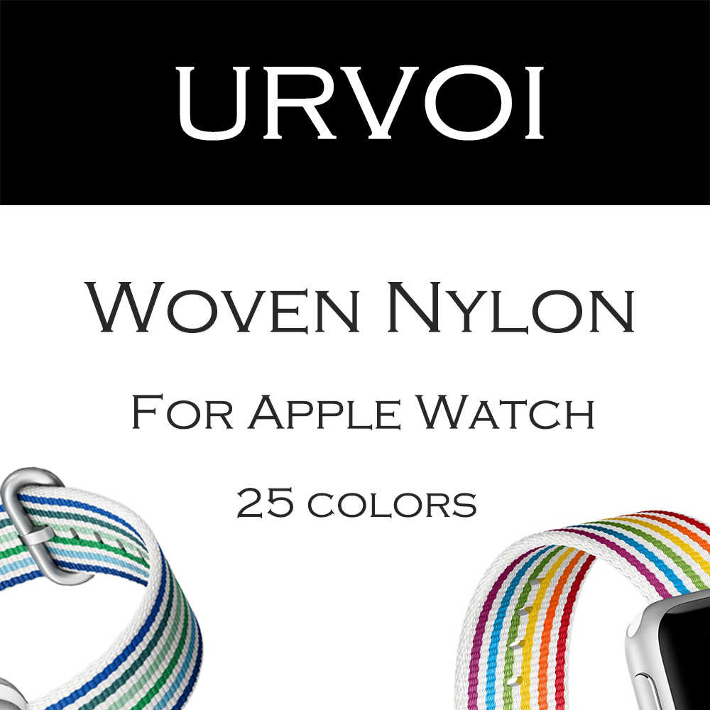 URVOI 2019 woven nylon band for apple watch series 4 3 2 1 fabric-like feel strap for iWatch pride edition classic buckle