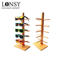 LONSY 2017 New Wood Glasses Racks For 5 Glasses Fashion Sunglasses Display Stand Bamboo Holder Removable Shelf DS001