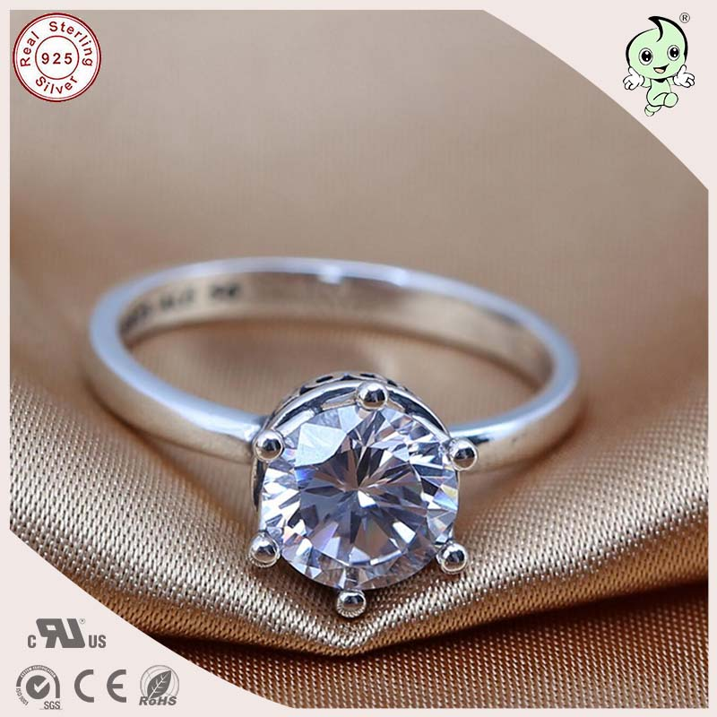 Noble European Famous Retro And Simple 925 Real Silver Stone Engagement Ring
