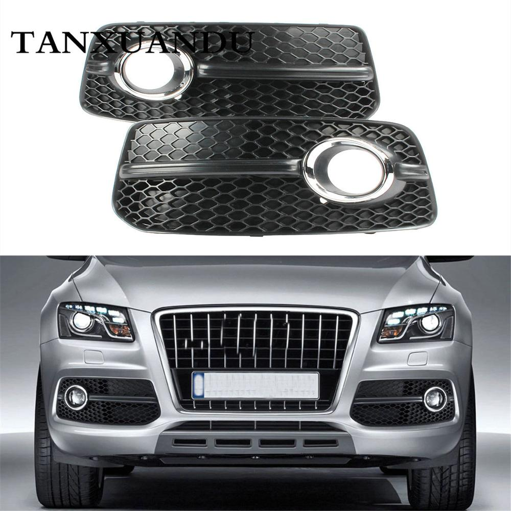 Front Bumper Lower Fog Light Lamp Grill Grille Chrome Ring Fit For AUDI Q5 S-Line 2009-2012 Sport Version 8R0807681E 8R0807682E grille