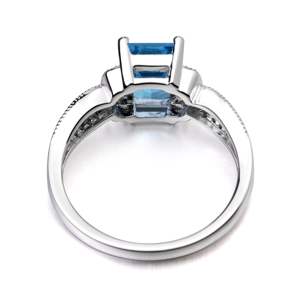 Leige Schmuck Silber Schweiz Blauer Topas Ring Sterling Silber 925