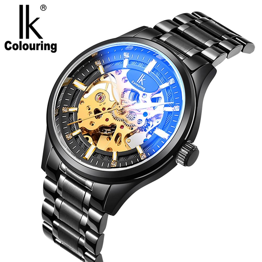 IK Coloration Marque de Mode Casual Hommes Montres Automatique Creux Squelette relogios Acier Inoxydable Bande Montre-Bracelet Mécanique