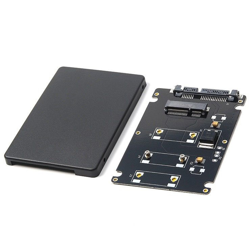 HOT-Mini Pcie mSATA SSD to 2.5 inch SATA3 Adapter Card with Case 7 mm Thickness black