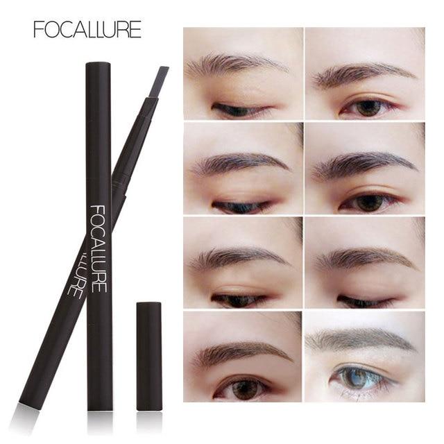 FOCALLURE New Waterproof 3 Colors Eye Brow Eyeliner Eyebrow Pen Pencil with Brush Makeup Cosmetics Tools 4