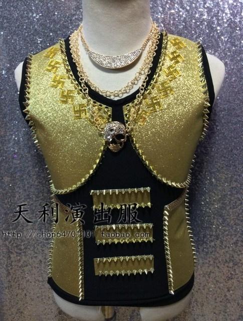 Masculino traje colete jaqueta amarela para DJ cantor dancer desempenho alta qualidade outwear boate bar partido desfile de moda