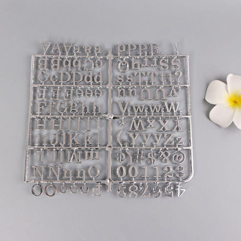 2PCS Silver Plating Characters For Felt Letter Board 250 Piece Numbers For Changeable Letter Board