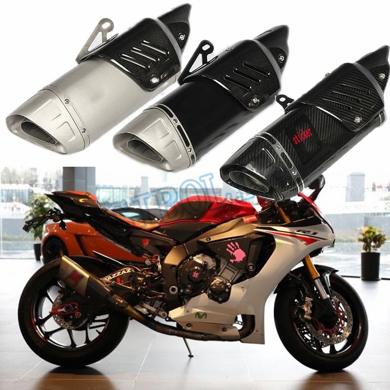 2018 51MM Outlet Universal Motorcycle Muffler Pipe Real Full Carbon Fiber Protector Heat Shield Cover Exhaust Escape Moto AK224