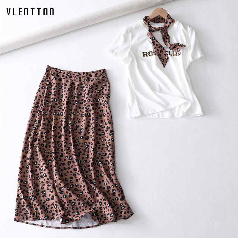 Summer Sexy 2 Piece Set Women O-Neck Short Sleeve Ribbons Leopard Print Women's T Shirt+Midi Skirts Suits Two Piece Skirt Sets