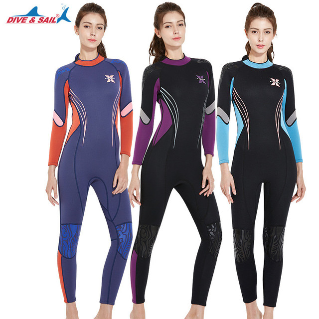 3MM Women Full Body Diving Suits Long Sleeved Snorkeling Surfing Clothing Winter Swimming Wetsuit jellyfish Swimsuit Rash Guard