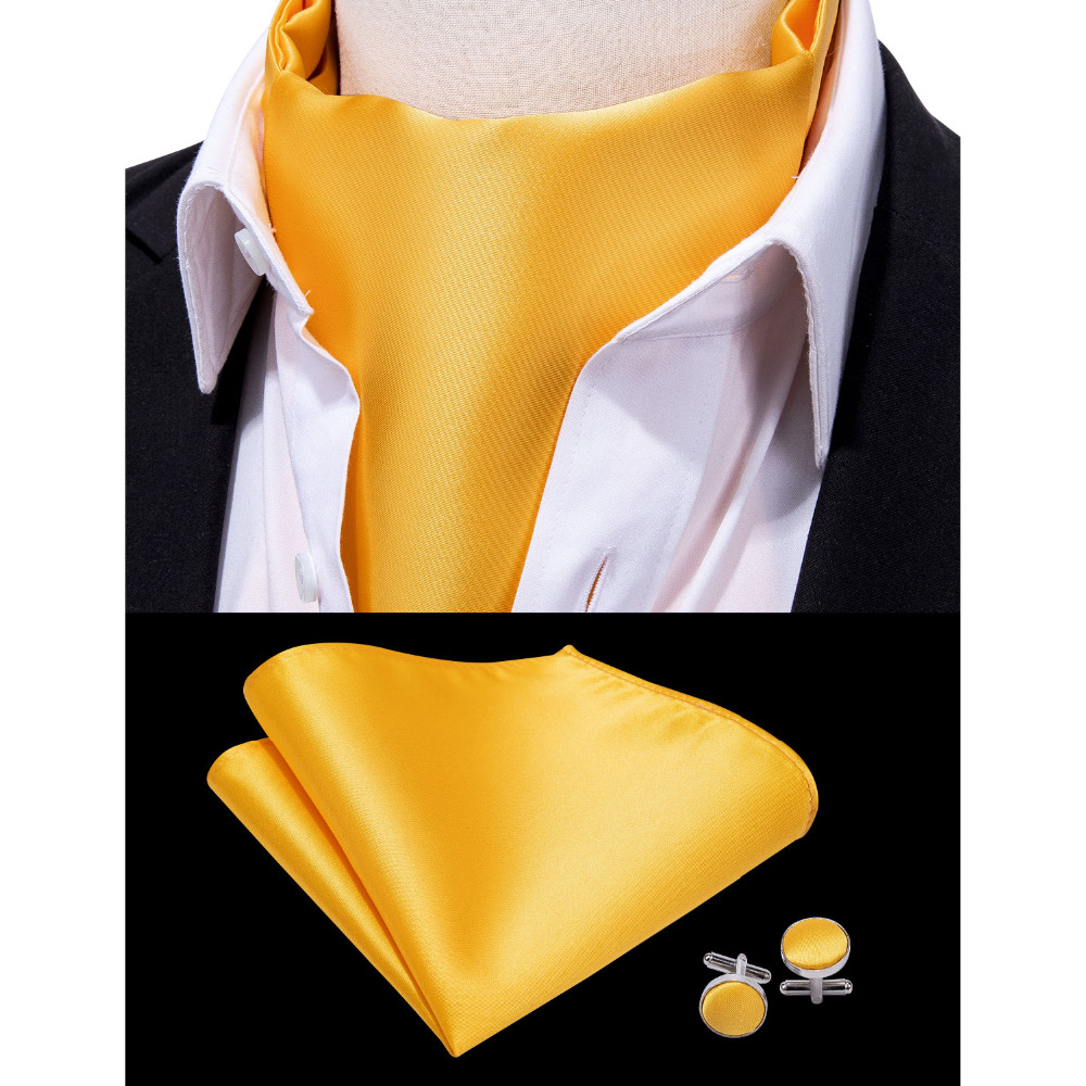 Barry.Wang 2019 Fashion Style Solid Yellow Men Tie 100% Silk Cravat Ascot Set For Men Formal Business Wedding Party Suit LF-0014