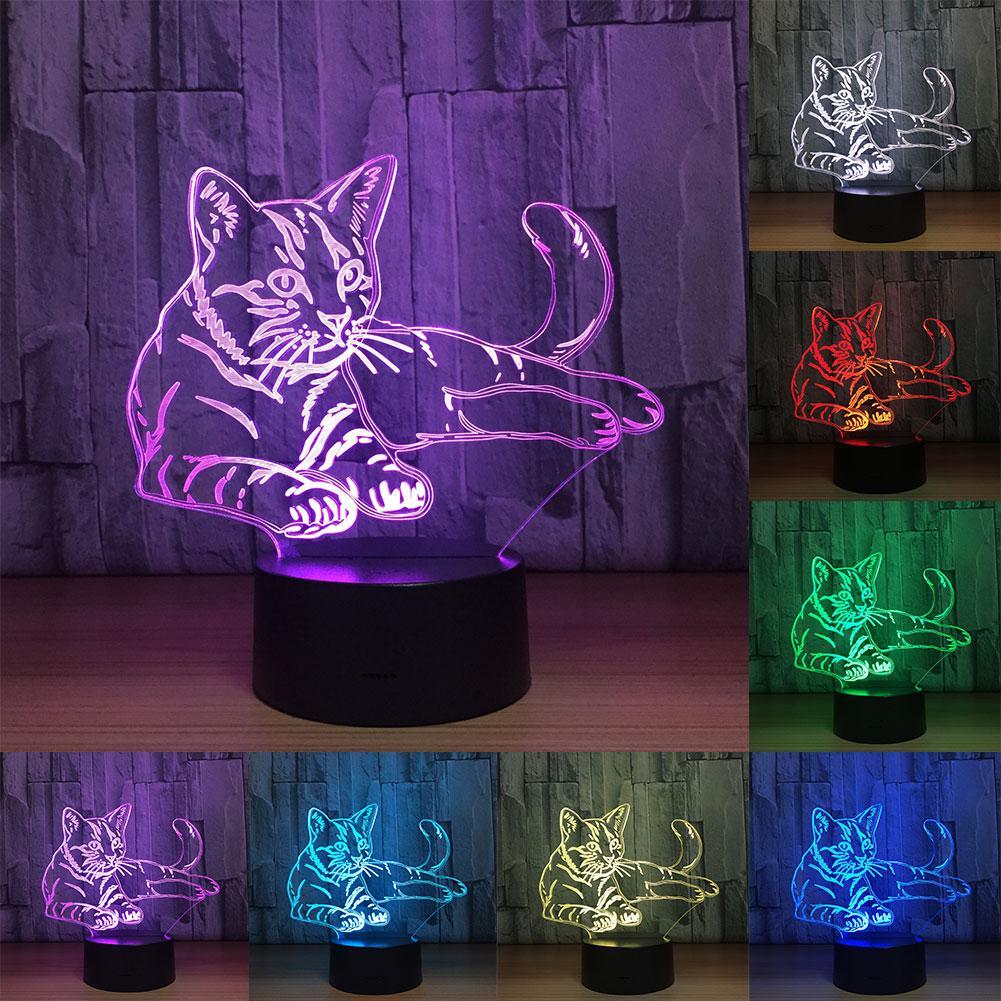 Colorful Cute Cat 3D Illusion Desk Decor Lamp Acrylic LED Night Light Kids Gift