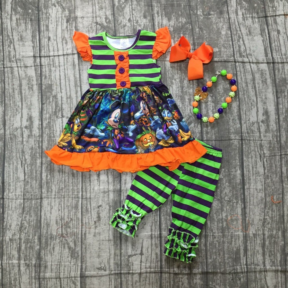 Halloween FALLWinter baby girls outfits green orange top stripe capris mouse corn pom pom boutique clothes match accessories