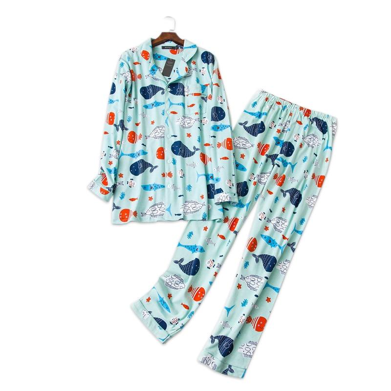 Man Pajamas Cartoon Fish Pajamas Sets 100% Brushed Cotton Spring Long-sleeve Sleepwear For Male Plus Size Pijamas Hombre Pyjamas
