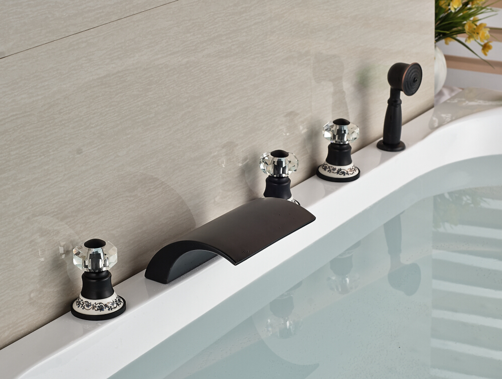 Blue And White Base Deck Mounted Oil Rubbed Bronze Mixer Tap ...