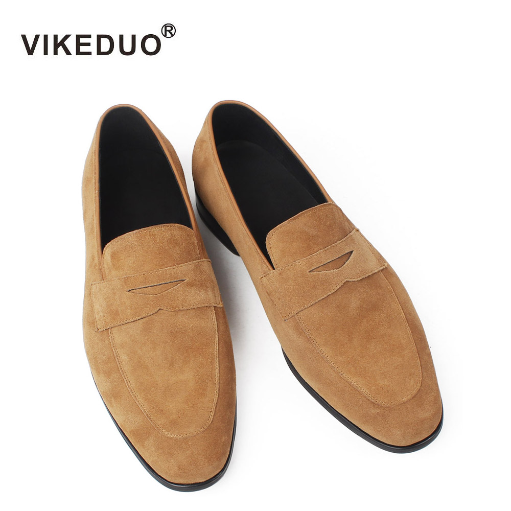 VIKEDUO 2018 новые Лоферы для Для мужчин из коровьей замши коричневый ручной работы мужской Повседневное кроссовки офис мужская обувь платье обу