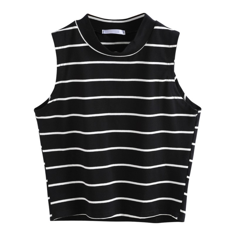 Casual Sleeveless Vest Summer T-Shirt Fashion Striped Crop Top Women T-Shirt Turtleneck Women Tops Cropped Feminino Camisas