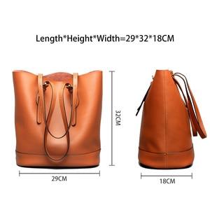 Image 4 - Zency borse a tracolla da donna di grande capacità 100% borsa in vera pelle borsa Shopping Vintage marrone borsa Tote Casual di qualità eccellente