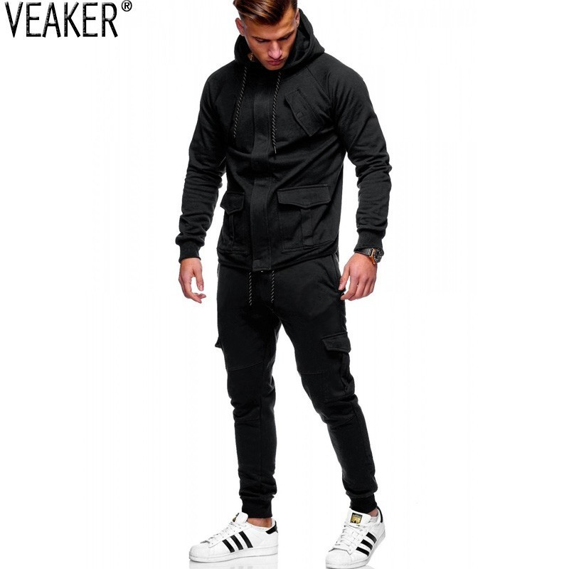2019 Autumn New Men's Overalls Tracksuit Set Male Cargo Pants Hoodies Sets High Street Black Hooded Sweatshirt Sweatpants M-3XL