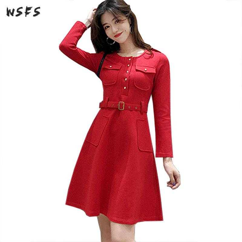 Printemps noir rouge à manches longues femmes robe Bandage ceinture bureau dames décontracté élégant formel Midi Aline robes d'été