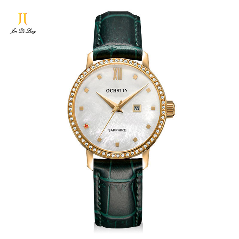 Classic Fashion Casual Dress Watch Women Elegant Quartz Diamond Wrist Watches Ladies Wristwatch Pear Dial Leather Strap Retro