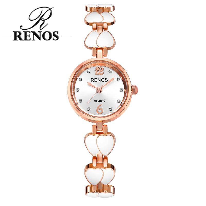 RENOS kvarca pulksteņi sievietēm ar kārbām Rhinestone dubultā saldā sirds vienkāršā skeleta aproce rokas pulksteņi modes kleita eleganta