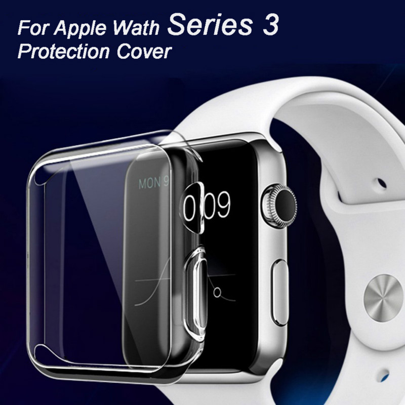 Ultra Thin Soft TPU Clear Case Cover For Apple Watch Series 3 38mm 42mm Transparent Silicone Full Protective cover Coque