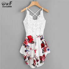 Dotfashion Crochet Lace Panel Bow Tie Back Florals Romper Womens V neck Criss Cross Sleeveless Playsuit
