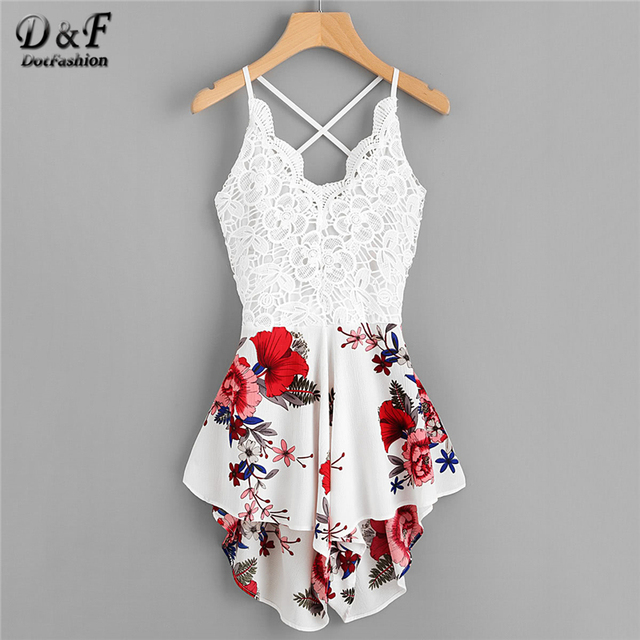 Dotfashion Crochet Lace Panel Bow Tie Back Florals Romper Womens V neck Criss  Cross Sleeveless Playsuit 2019 Sexy Summer Romper a20220cf3