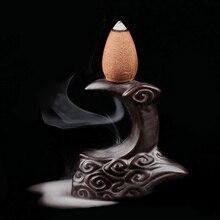 Мини керамическая курильница с обратным потоком Будда Маленький Будда держатель горелки буддийский конус из сандалового дерева Parfum Bruleur Ceramique