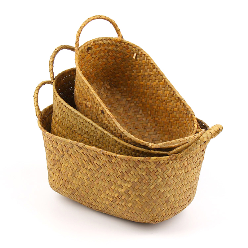 Round rattan fruit basket fancy hand fruit and vegetable storage ...