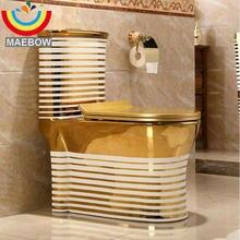 Художественный Золотой Цельный унитаз Циклон Промывка s-ловушка напольный роскошный вилла ванная комната сиденье Туалет