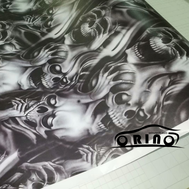 Orino Car Wrap Graffiti Skull Sticker Camo Sticker Vinyl Film Skull Car Motorcycle Mirror Roof