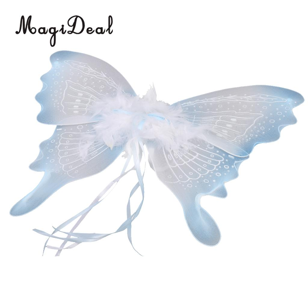 magideal feather ribbon butterfly angel fairy wings kid girls