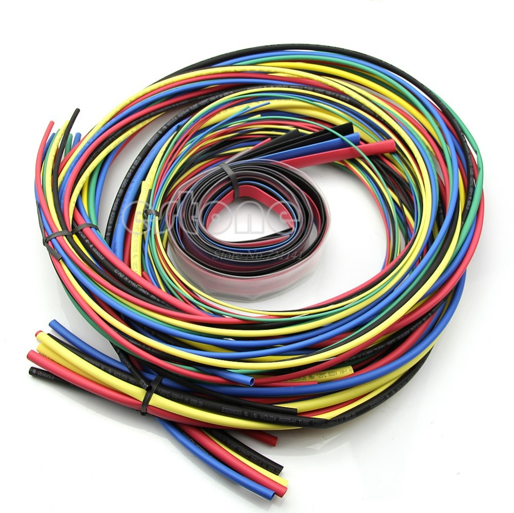 Heat Shrink Tubing 11 Sizes 6 Colours Tube Sleeving Pack, 55M/Set