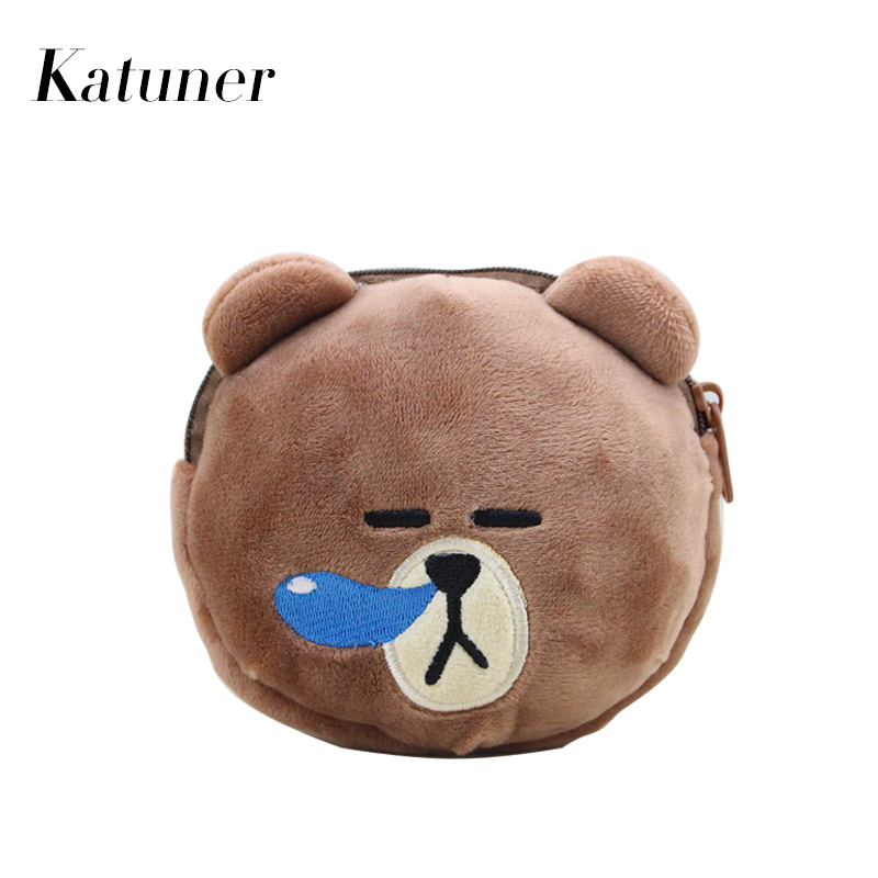 Katuner New Cartoon Plush Coin Purse Kids Kawaii Wallet Zipper Pouch For Girls Boys Women Mini Coin Bag Porte Monnaie KB072