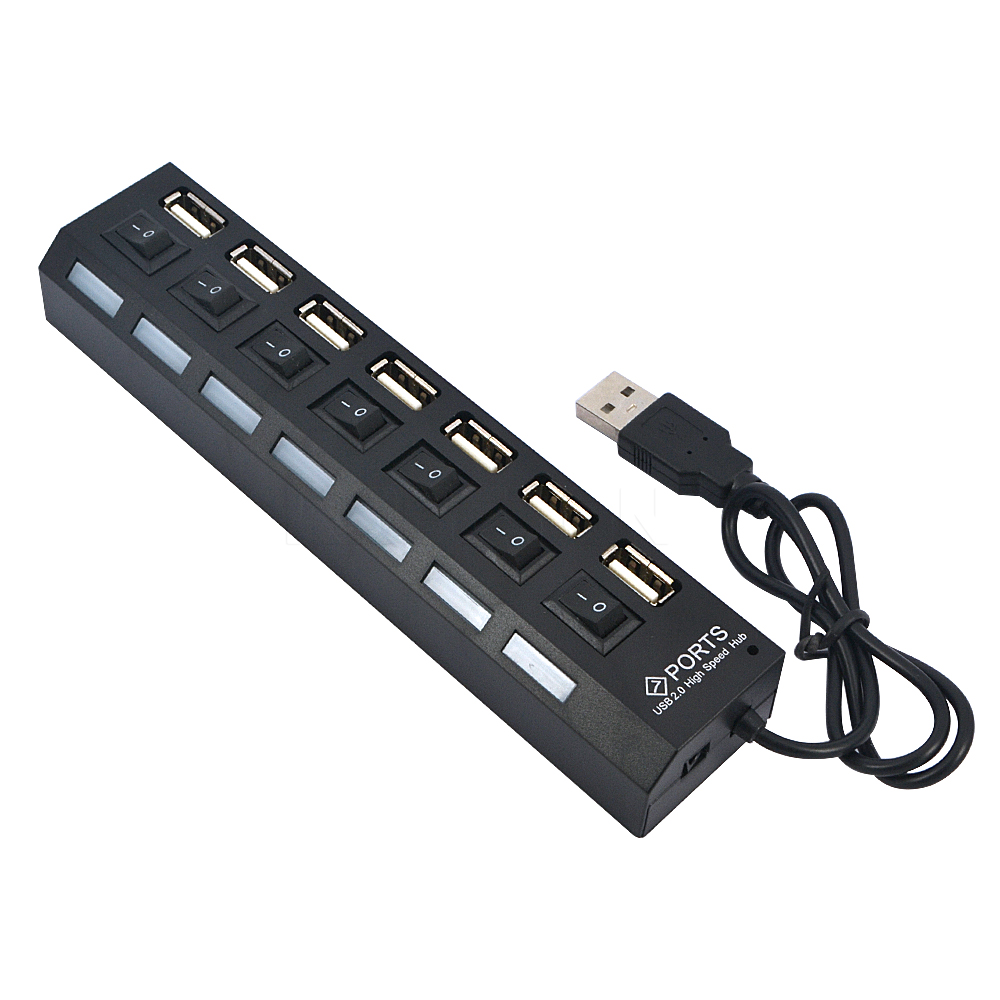 multi 7 ports usb hub 2 0 adapter high speed hub usb on off switch portable usb splitter for. Black Bedroom Furniture Sets. Home Design Ideas
