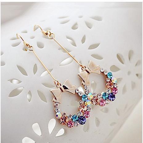 Free Shipping Fashion Ring Imitation Diamond Colorful Rhinestone Bow Earrings D217