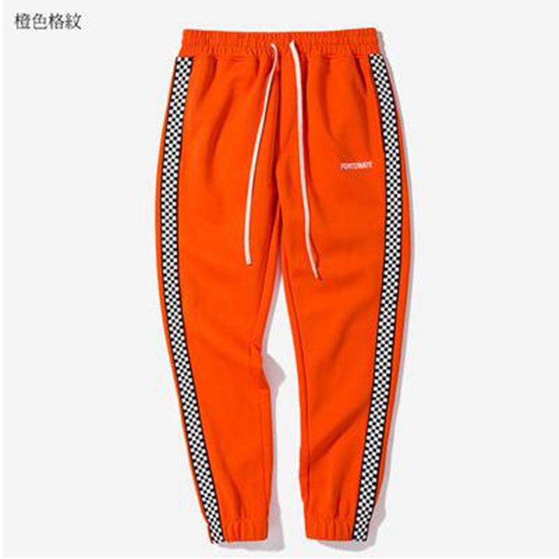 Men casual track pants black white plaid side stripe vintage jogger pants high street male sweatpants leisure trousers-in Sweatpants from Men's Clothing
