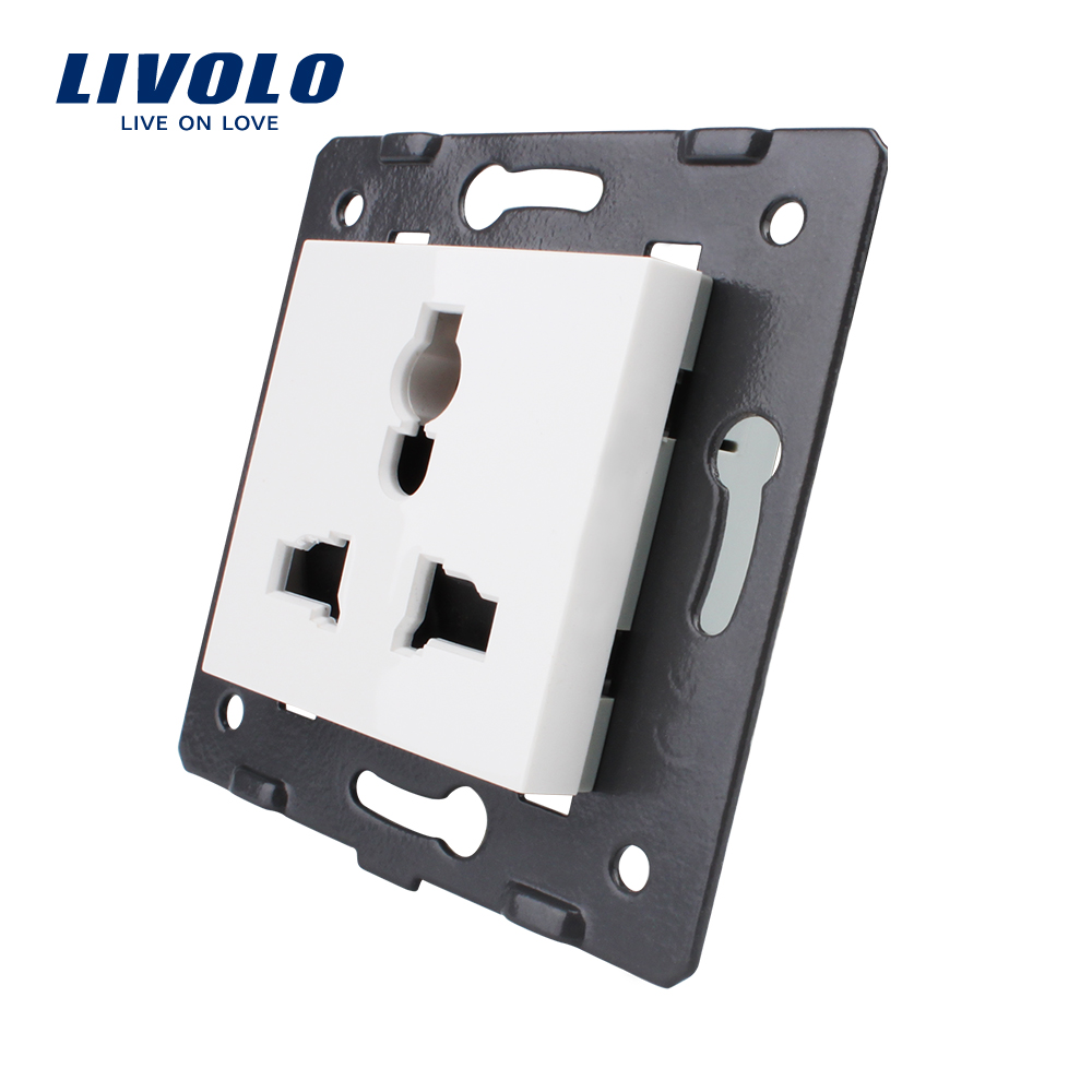 Livolo EU Standard,  White Color, Multifunction Socket, 3 Pins,  Function Key For Wall Socket, VL-C7-C1C-11/12